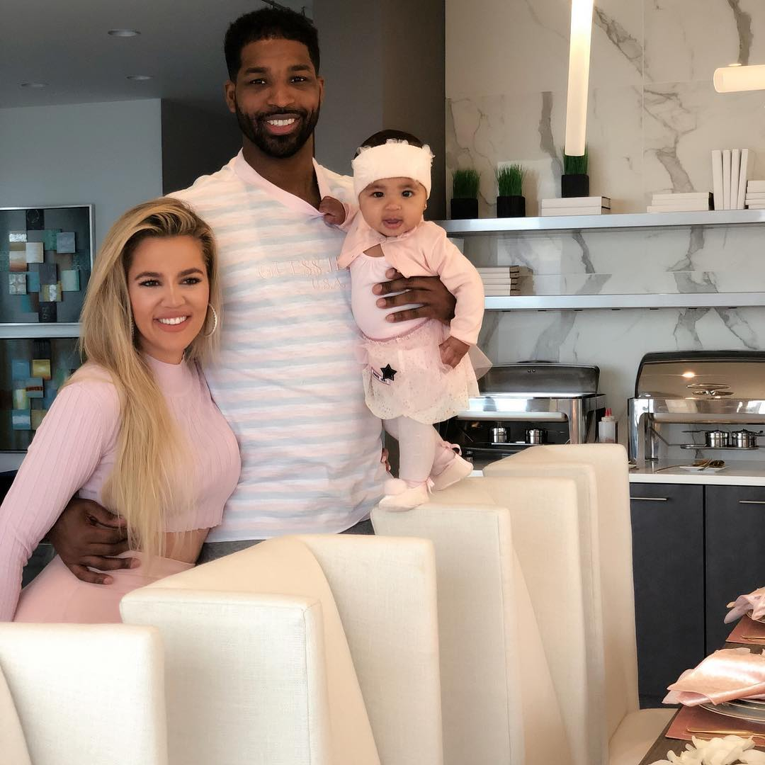 Khloe,Tristan and baby True before break-up