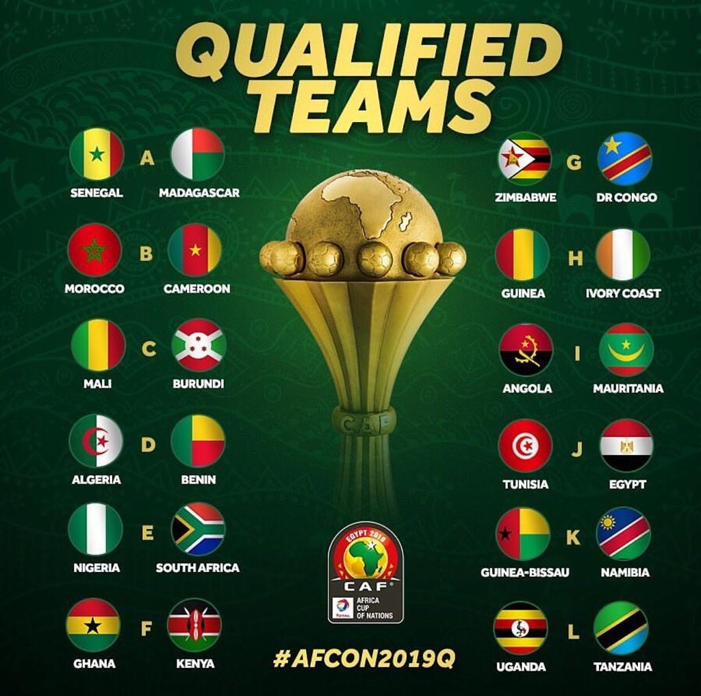 Teams which qualified for Africa Cup of nations