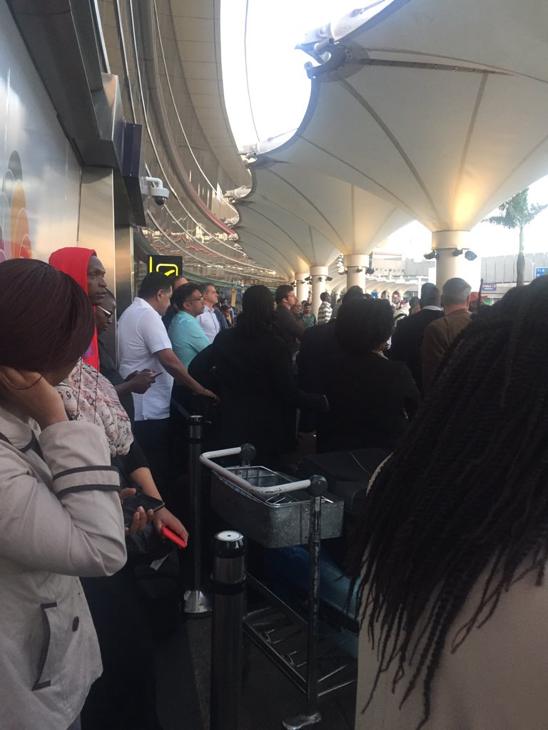 D08jeHqWoAA8 k7 - Travellers stranded at JKIA as airport workers strike bites (photos)
