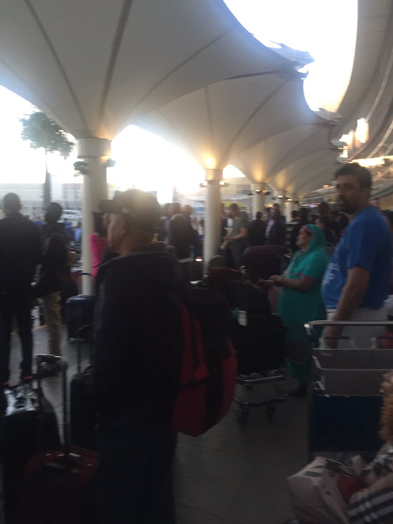 D08jeHqX4AEtkAr - Travellers stranded at JKIA as airport workers strike bites (photos)