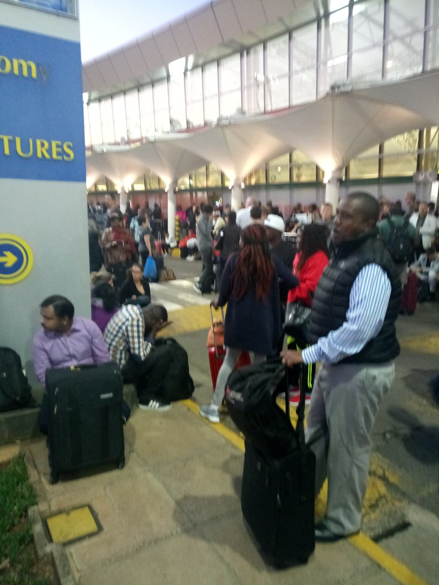 D08lOuJXQAAGshW - Travellers stranded at JKIA as airport workers strike bites (photos)