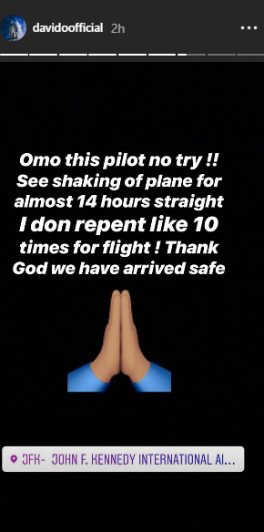 Davido Nigeria - 'I repented like 10 times,' Davido recounts scary experience on plane to USA