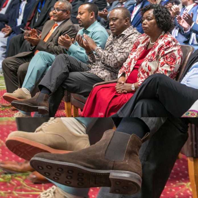 Uhuru shoes 696x696 - President Uhuru rocks boots worth your 1 month rent, Kenyans react