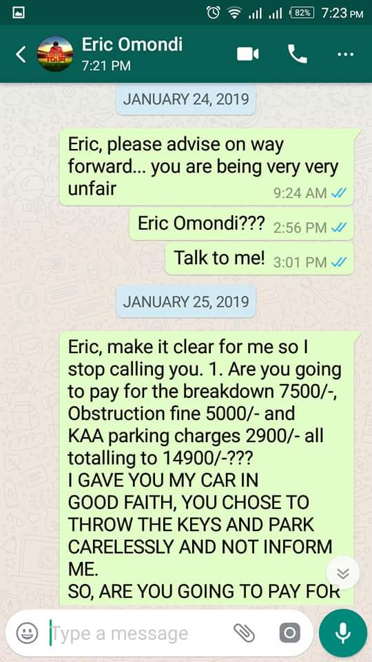 "b823f9ec 947b 429e babb d49af7386e38 - ""Nitampelekea polisi!"" Eric Omondi denies claims that he refused to pay car hire bill"