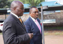 Lawyer Assa Nyakundi arrives at a Limuru court with his client, Neno Evangelism Centre Pastor James Ng'ang'a, May 4, 2018. /GEORGE MUGO
