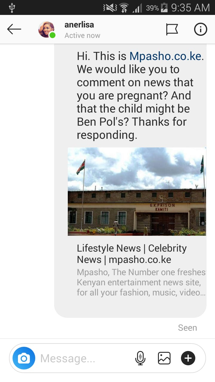 Anerlisa Muigai comment screenshot - Bonfire CEO congratulates Anerlisa and Ben Pol on her pregnancy