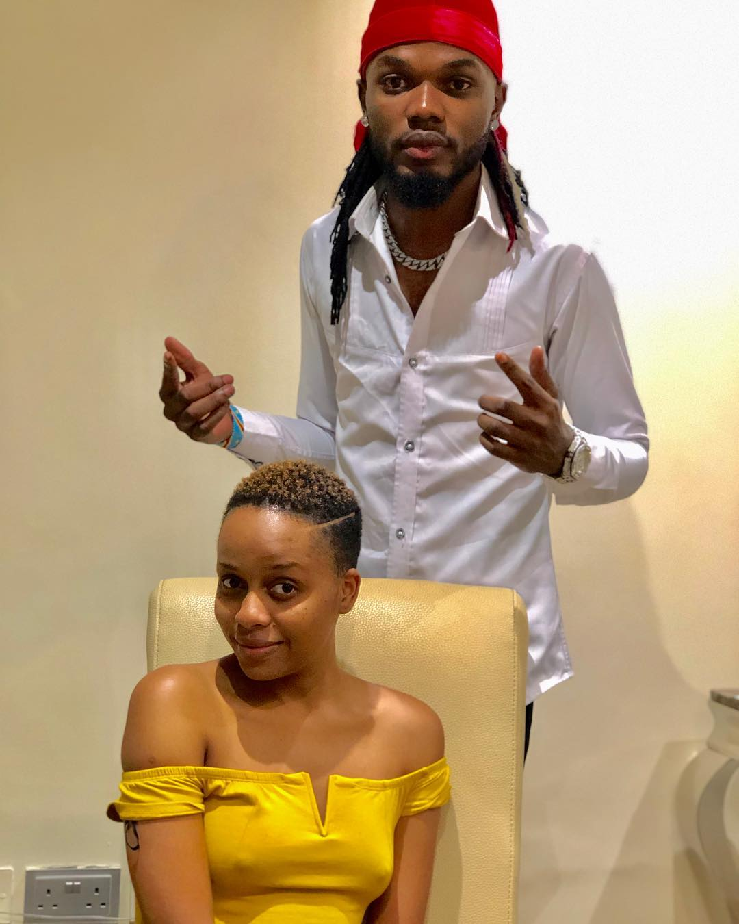George Dufanda with Nandy - Joho's barber Dufanda says Juma Jux and Ommy Dimpoz most difficult clients