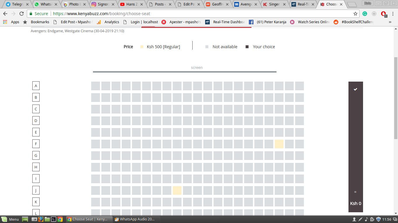 Screenshots showing the rapid buying up of tickets at Westgate Cinema