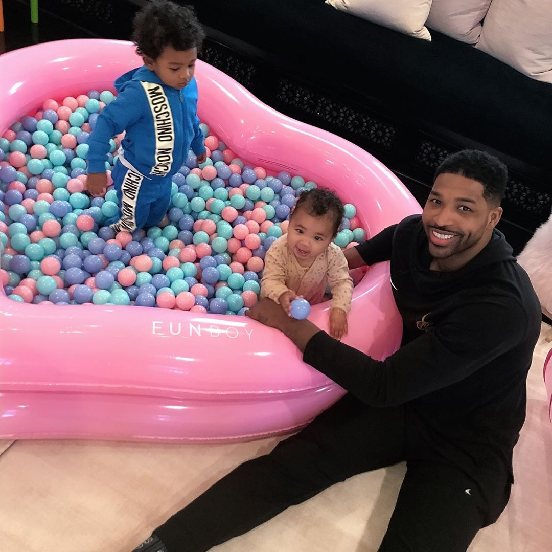 Tristan Thompson together with True 11 - Khloe Kardashian and Tristan Thompson re-unite for daughter's 1st birthday