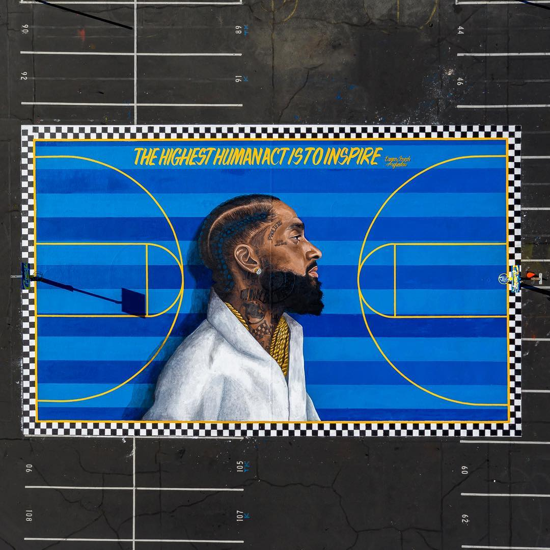 nipsey hussle - Befitting tribute! Nipsey Hussle's face plastered on basketball court