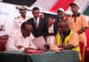 President Uhuru Kenyatta when he officially launched the Huduma Namba countrywide registration exercise in Machakos county on Tuesday, April 2, 2019. Image: PSCU