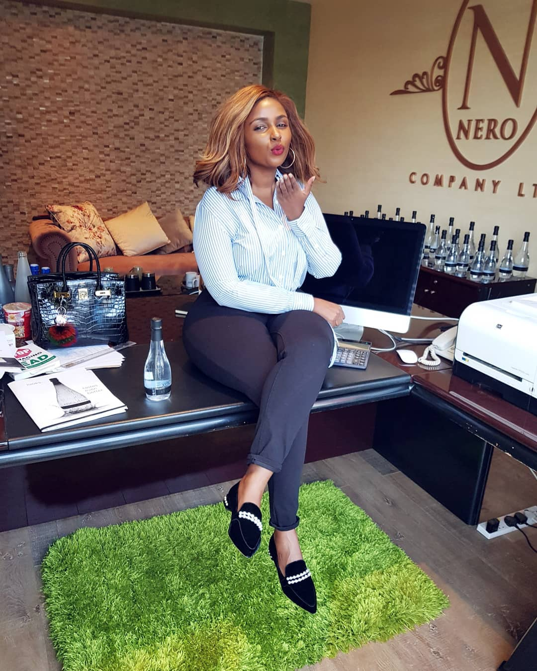 Anerlisa in her office - Anerlisa Muigai hints at having twins with Ben Pol