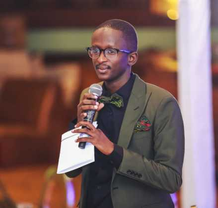 Blessed Njugush on the mic 439x420 - Who Knew Comedian Njugush Could Look This Dapper In A Suit?