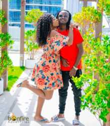 Diana Marua kissing Bahati on the cheek 219x250 - I loved her as a drunk mess: Proof that Bahati hearts wife, Diana Marua!
