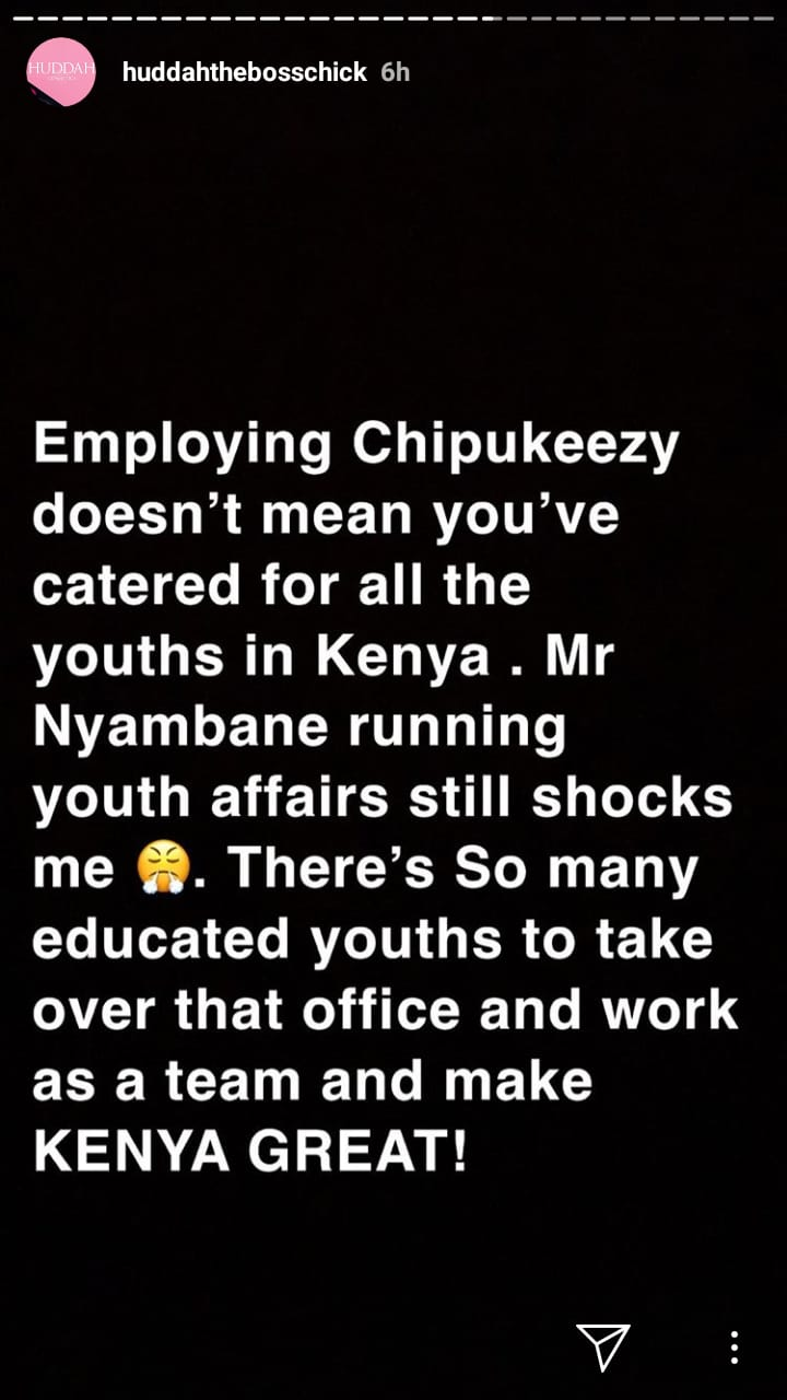 Huday chipu Nyambane - Giving Chipukeezy a job is not hiring the youth! Huddah blasts gava