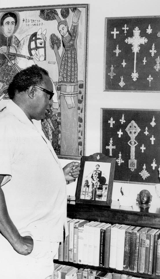 Murumbi looking at some of his art collections