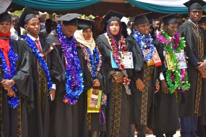 A section of the 400 former students of Garissa University who graduated in a colourful ceremony on Thursday June 27, 2019.
