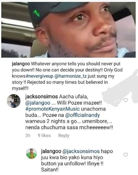 WhatsApp Image 2019 06 06 at 7.06.14 AM - 'Unfollow me! Saitan,' Jalango tells Willy Paul's fan