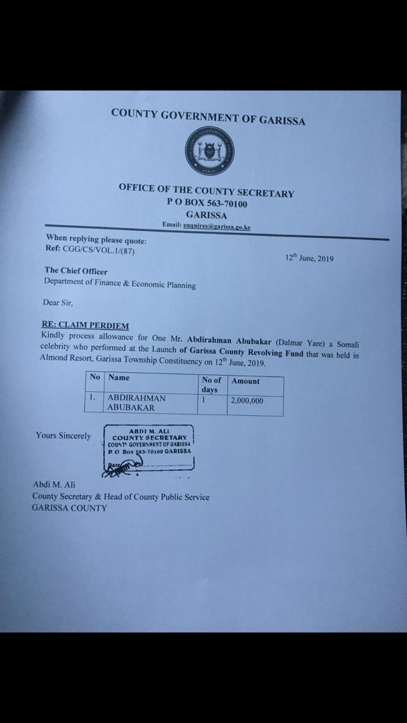 WhatsApp Image 2019 06 13 at 10.47.37 AM - We did not pay 2 million to Somali artiste – Garissa county