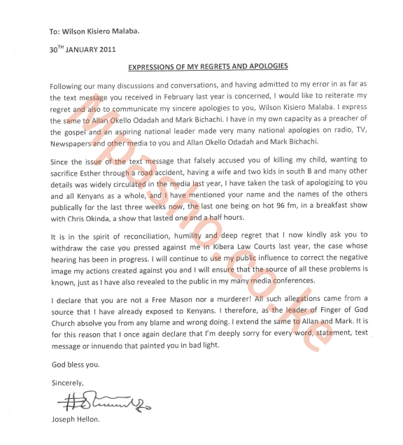 Hellon letter - You are not a Free Mason! Read Hellon's apology to Esther Arunga's ex