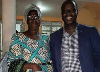 Ken Okoth with his mother