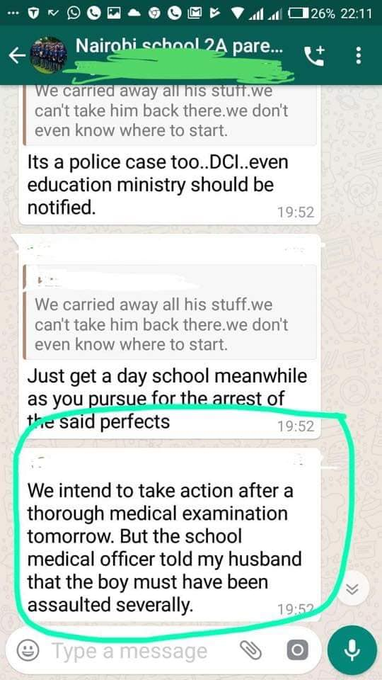 MUM 3 - Leaked SMSes of Nairobi School parents after student is assault by prefect