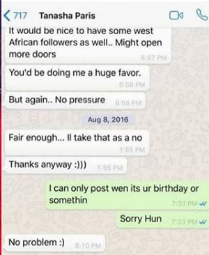 P square Tanasha - P Square exposes Tanasha by leaking texts of her begging for a favour