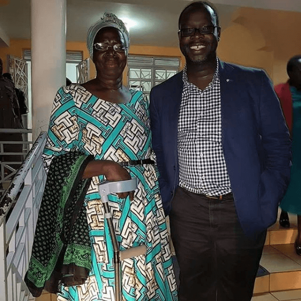 The late Ken Okoth with his mum
