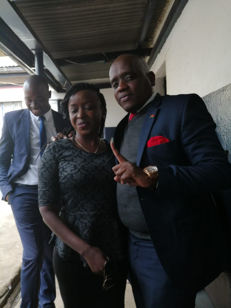 Jacque Maribe and Dennis Itumbi at DCI offices