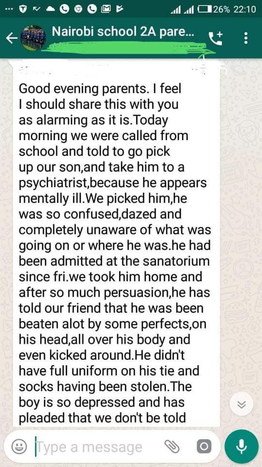 mUM 1 - Leaked SMSes of Nairobi School parents after student is assault by prefect