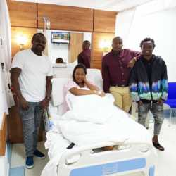 Diana Marua on a hospital bed 250x250 - Omwana amewasili! Bahati's son chauffeured home like a king (Video)
