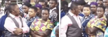 pastor Nganga and female congregant mpasho 350x123 - Pastor Nganga meets his match! Female congregant stands up to him
