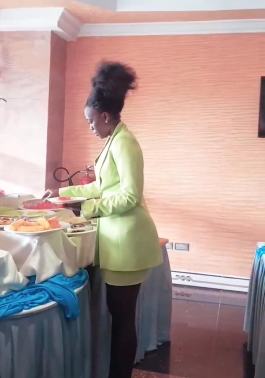 Akothee having breakfast at Weston hotel