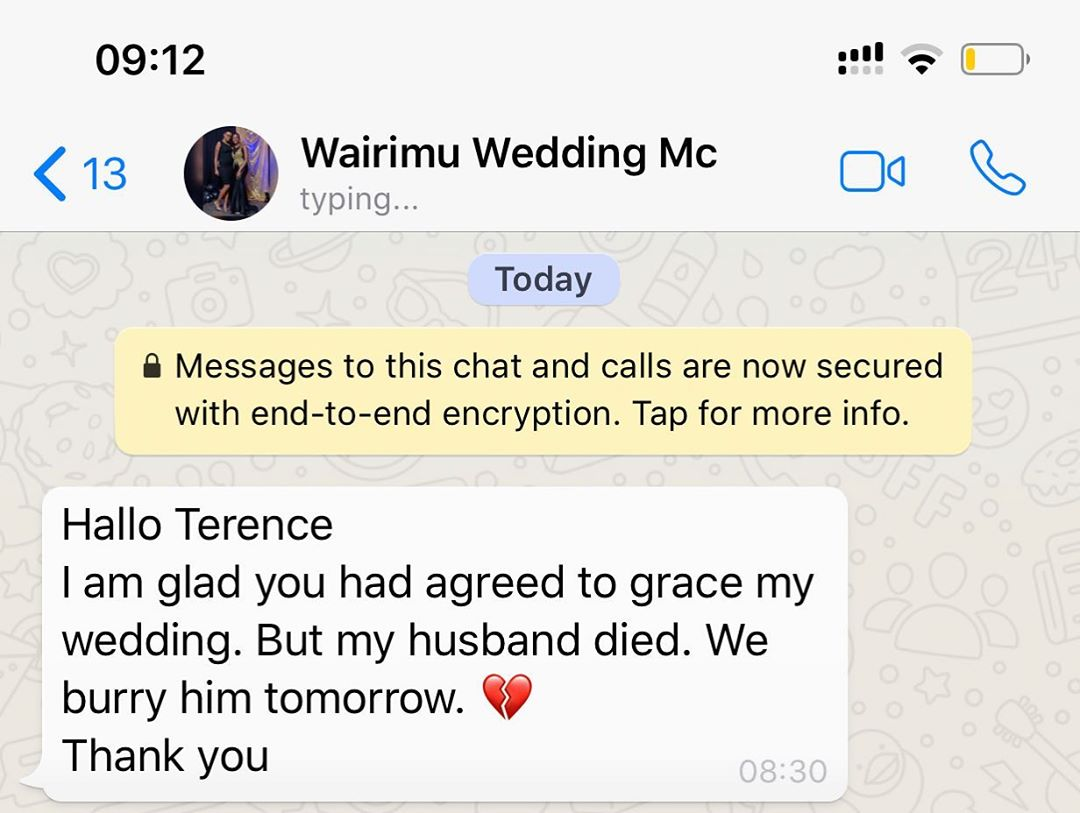 Kamami - 'I was to MC at his wedding but he didn't make it,' Terence Kamami mourns groom