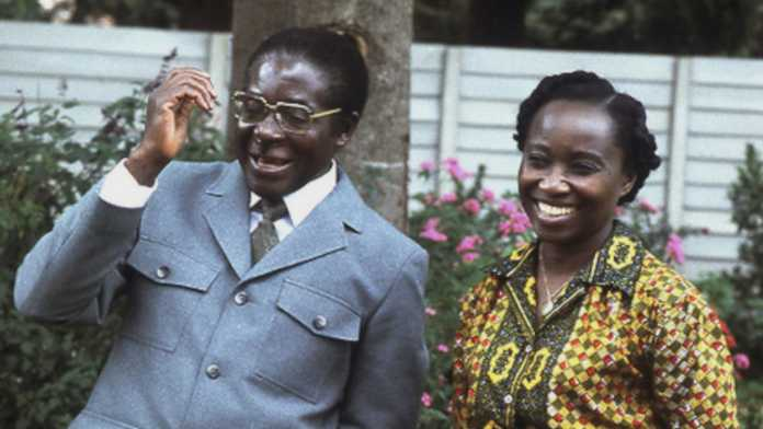 Robert Mugabe with first wife