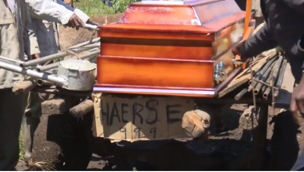 Nyandarua 3 1 - Family forced to ferry casket on a Mkokoteni due to bad road – Photos