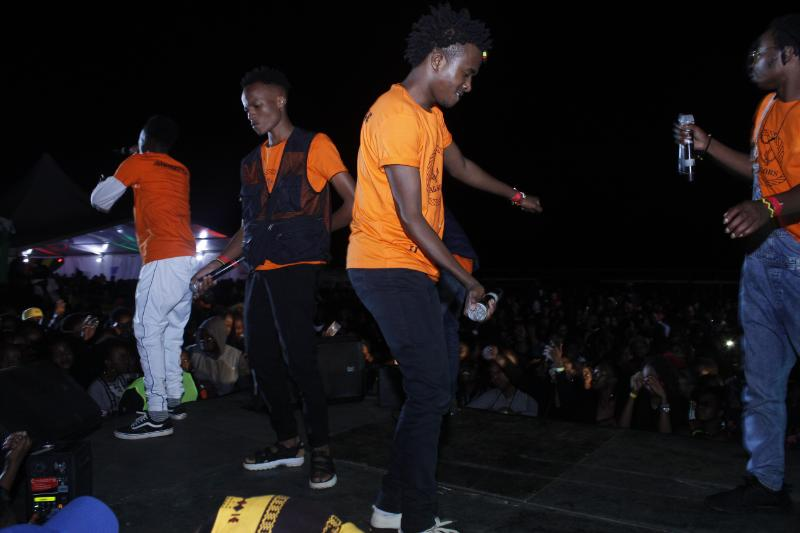 Sailors on stage at Konshen's concert hosted at Ngong Race Course