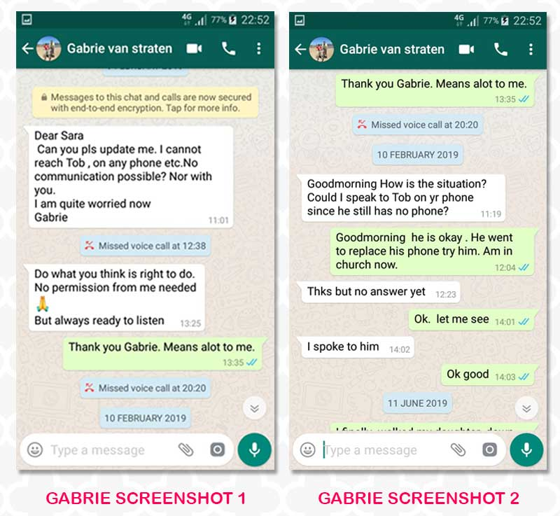 Sarah cohen - SCREENSHOTS: Last conversation between Cohen's sister and Sarah Wairimu after he disappeared
