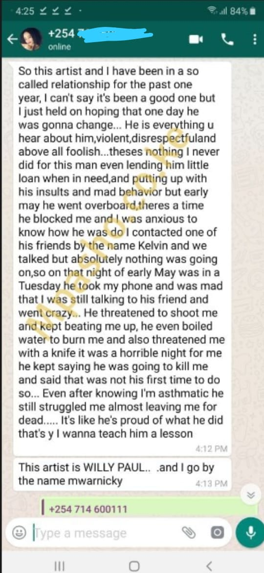 WhatsApp Image 2019 09 04 at 17.55.12 - 'Willy Paul threatened to shoot me,' ex-girlfriend exposes violent gospel star