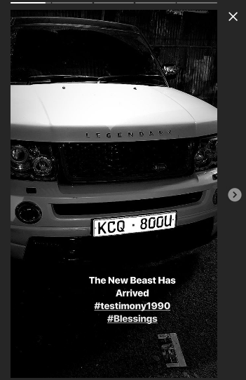 Khaligraph announcing the arrival of his new ride, a Range Rover Sport