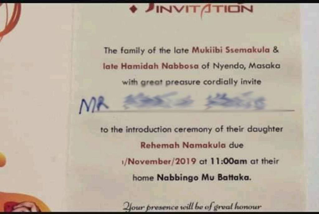 Rema Namakula's wedding invitation