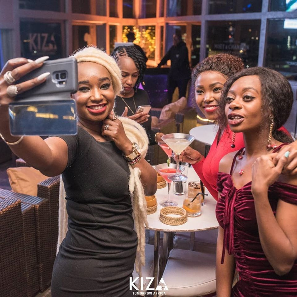 Tallia Oyando and her girls' squad at Kiza lounge