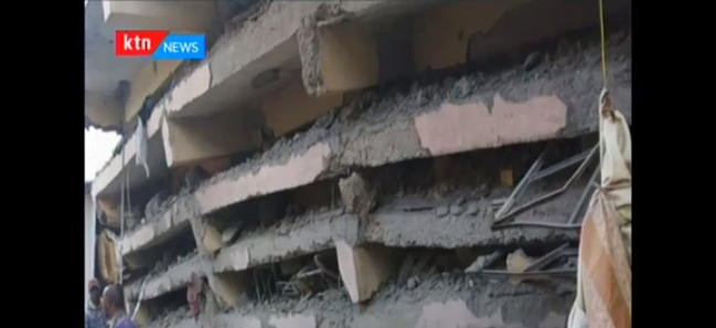 A six storey building that has sunk due to heavy rains in Tasia