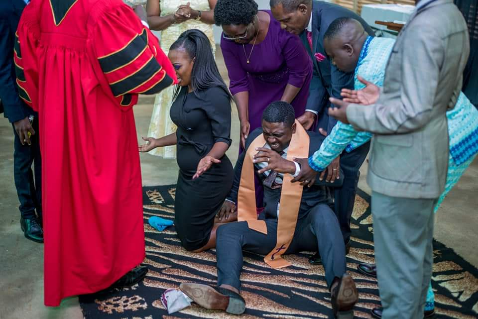 FB IMG 1580478910138 - Photos of Ruth Matete's hubby falling on church make rounds