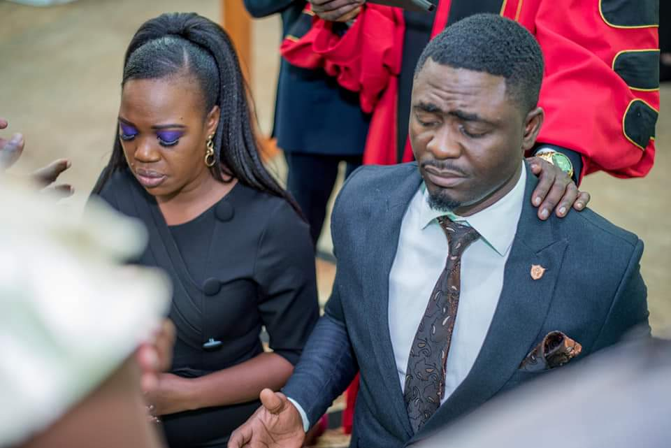 FB IMG 1580478938210 - Photos of Ruth Matete's hubby falling on church make rounds