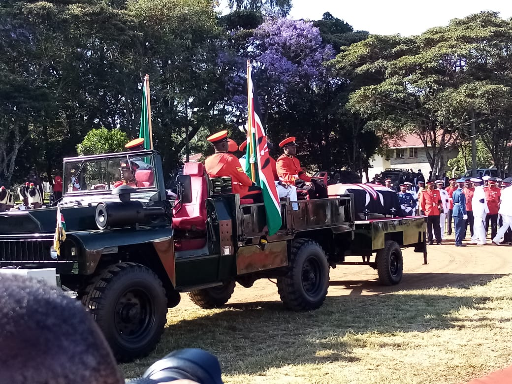 Daniel Moi's body arrive at Kabarak